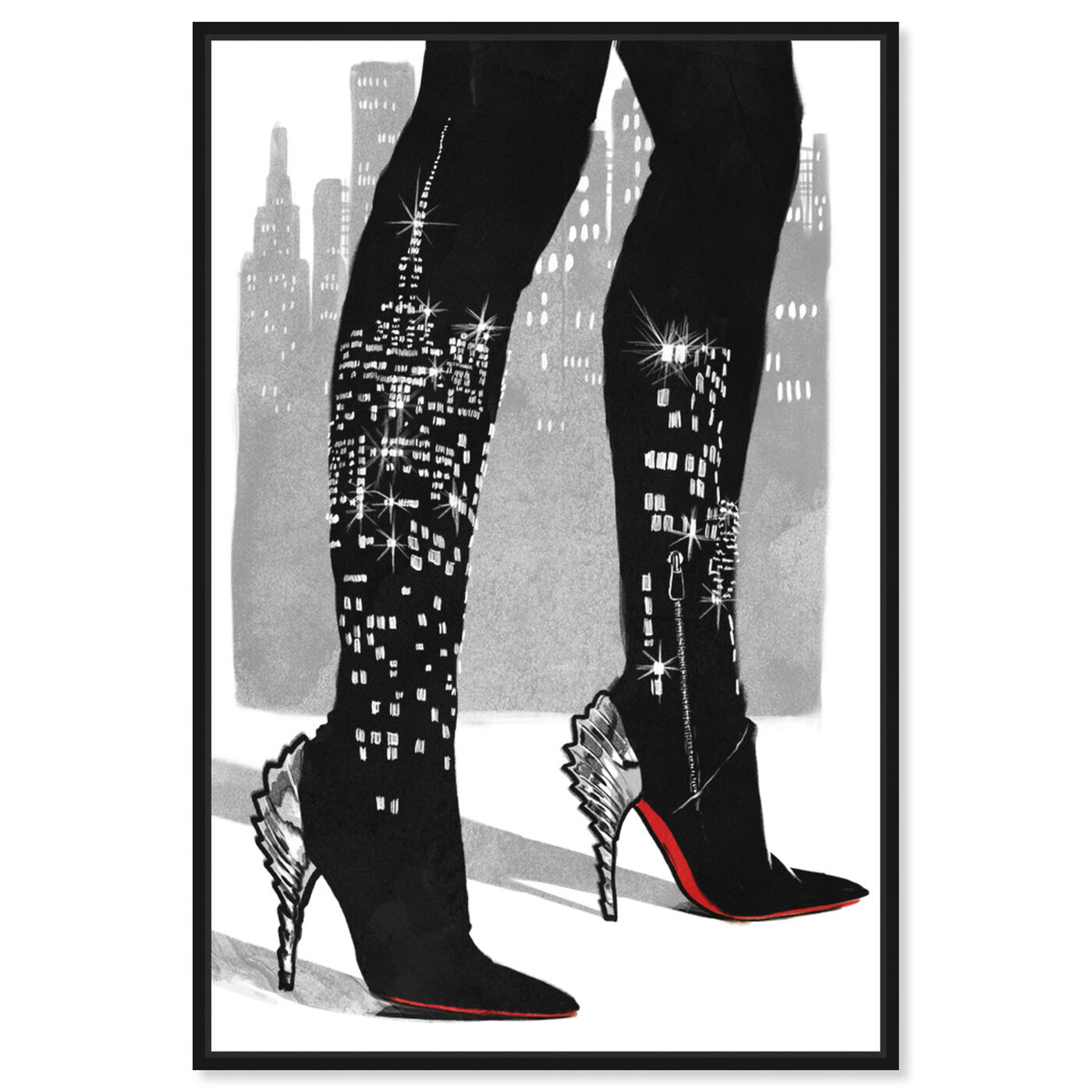 Front view of City Lights featuring fashion and glam and shoes art.