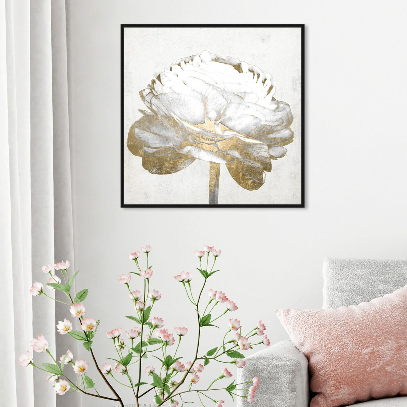 Hanging view of Gold and Light Floral II White featuring floral and botanical and florals art.