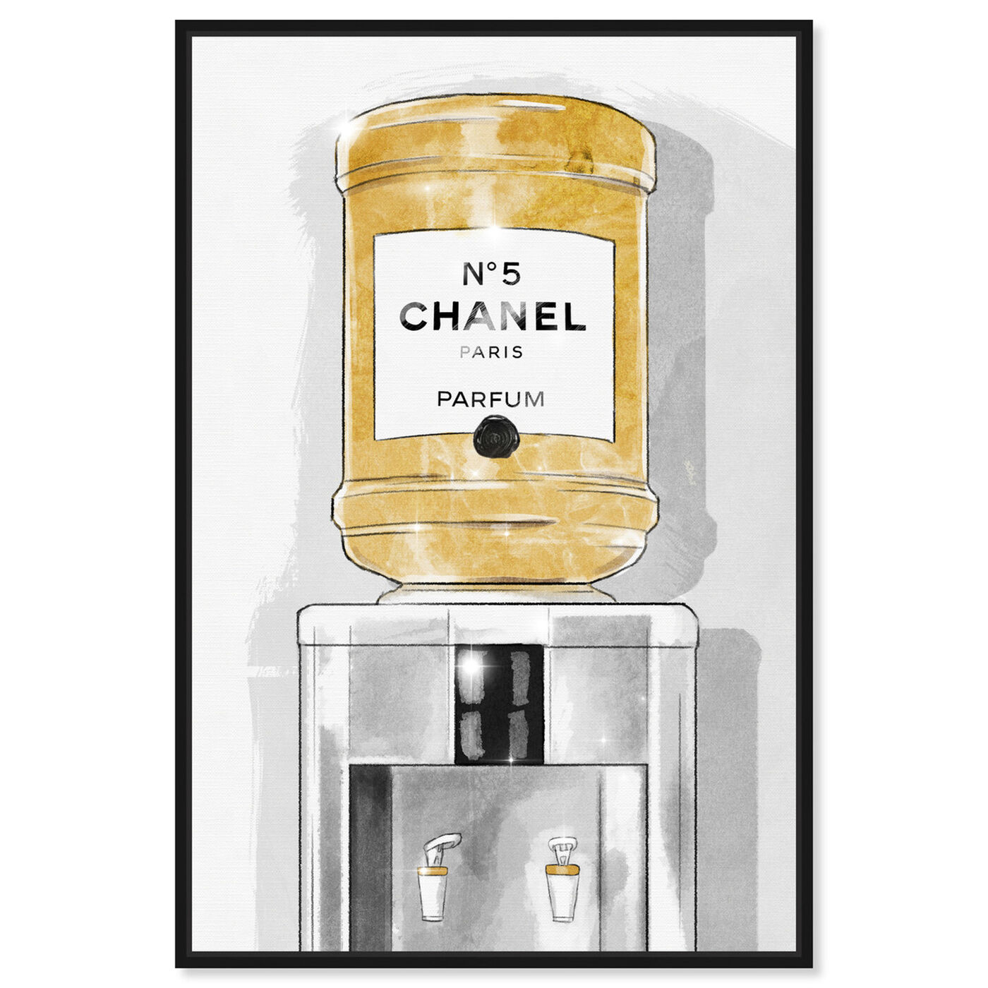Front view of Classic Number 5 Watercooler featuring fashion and glam and perfumes art.