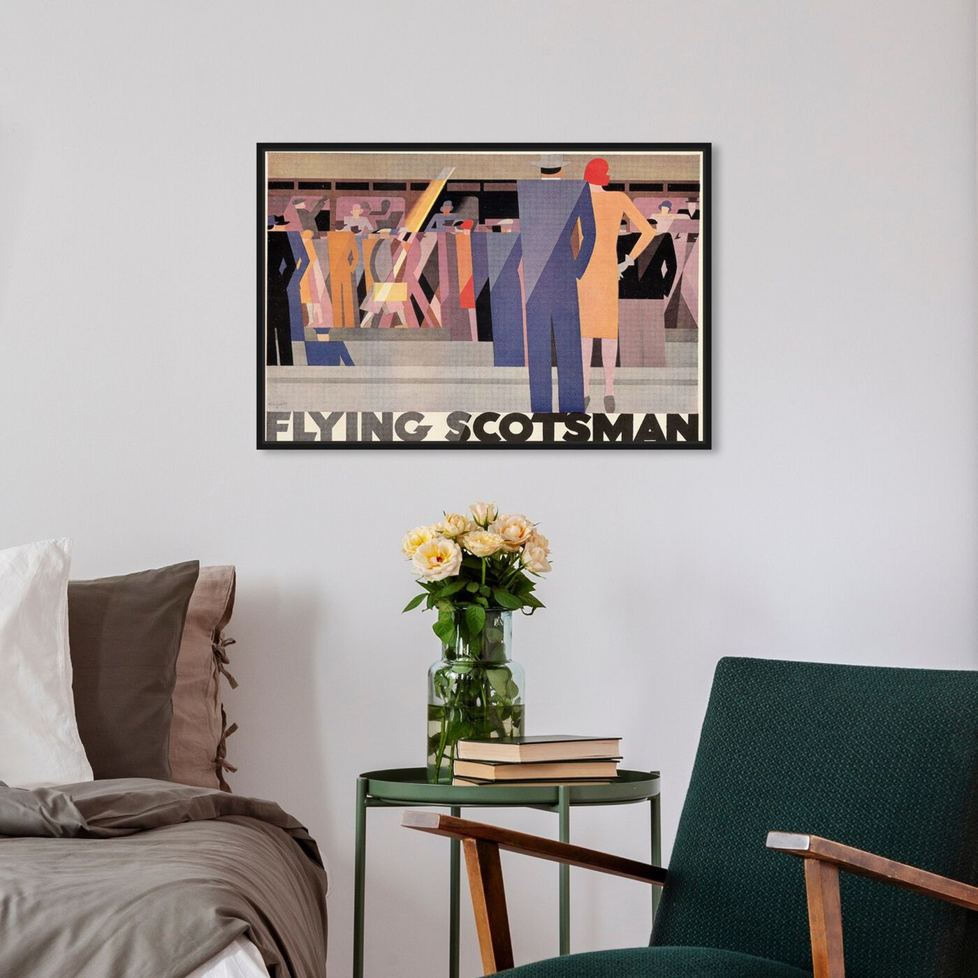 Hanging view of Flying Scotsman featuring advertising and posters art.