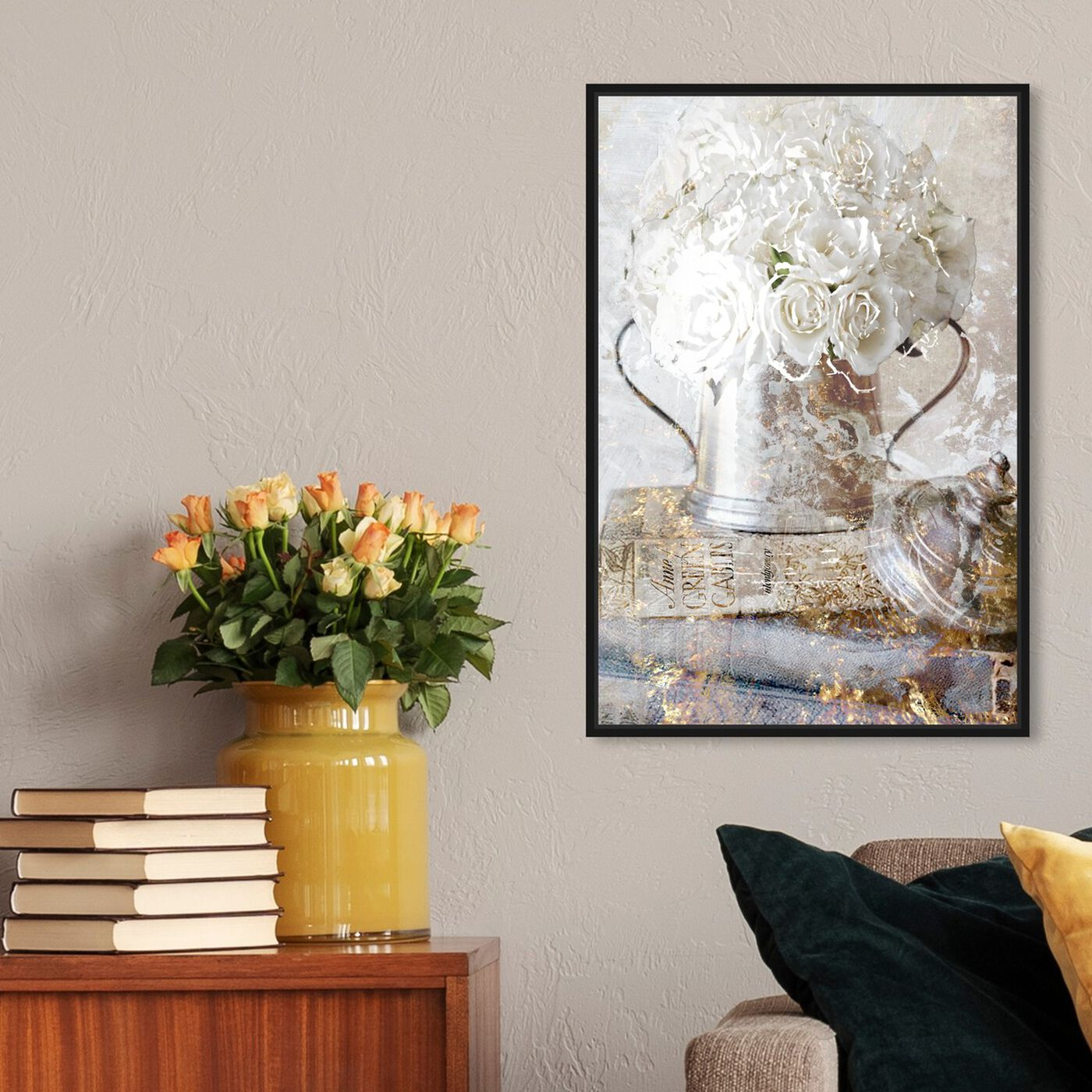 Hanging view of Romantic Roses featuring floral and botanical and florals art.