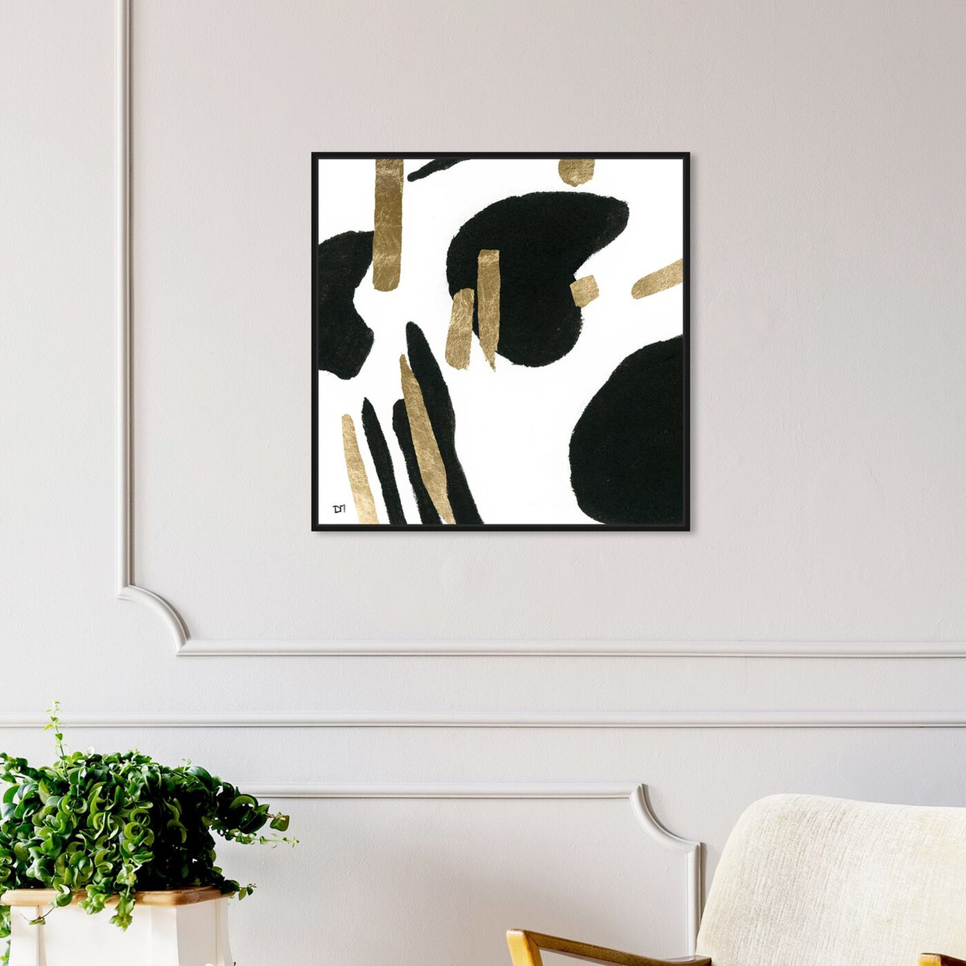 Hanging view of Bigger Gold featuring abstract and paint art.