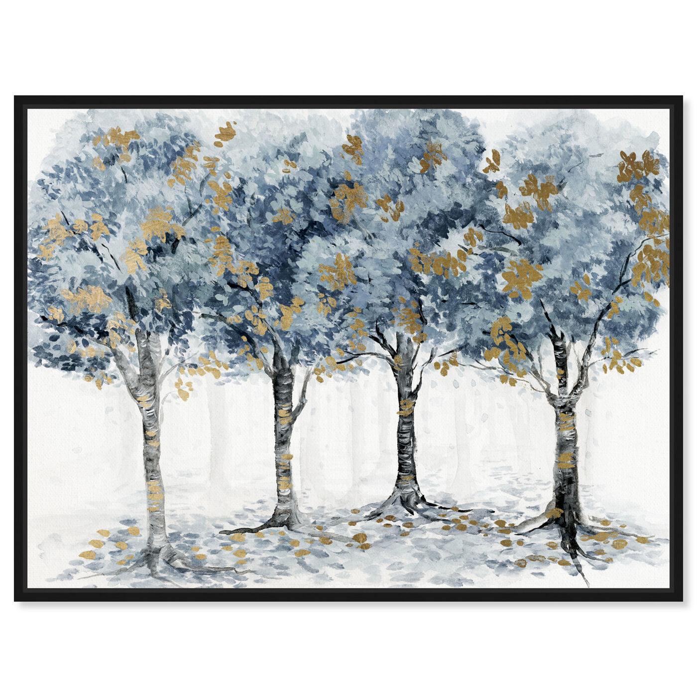 Front view of Pale Blue Forest featuring floral and botanical and trees art.