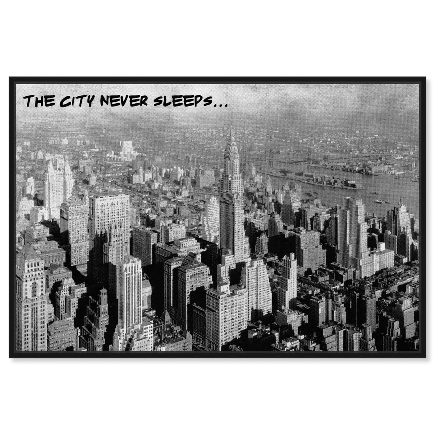 Front view of Never Sleeps featuring cities and skylines and united states cities art.