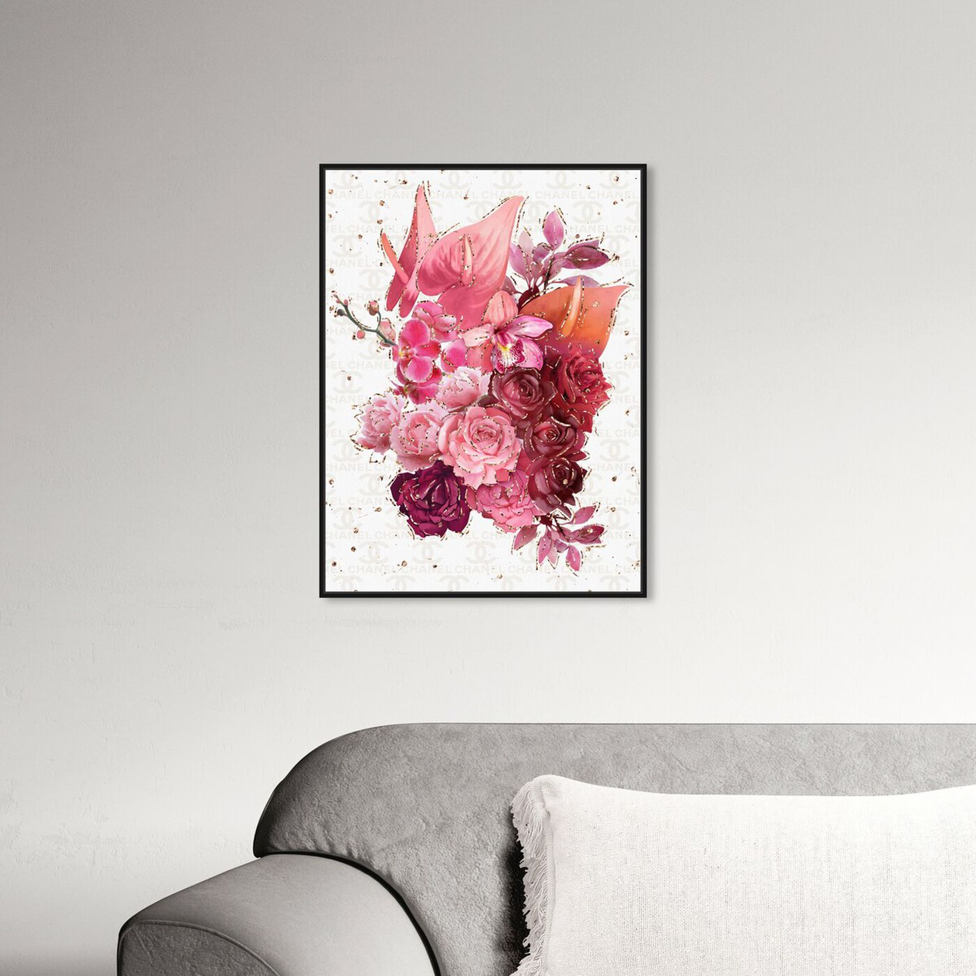 Hanging view of Coco Pink Flowers featuring floral and botanical and florals art.