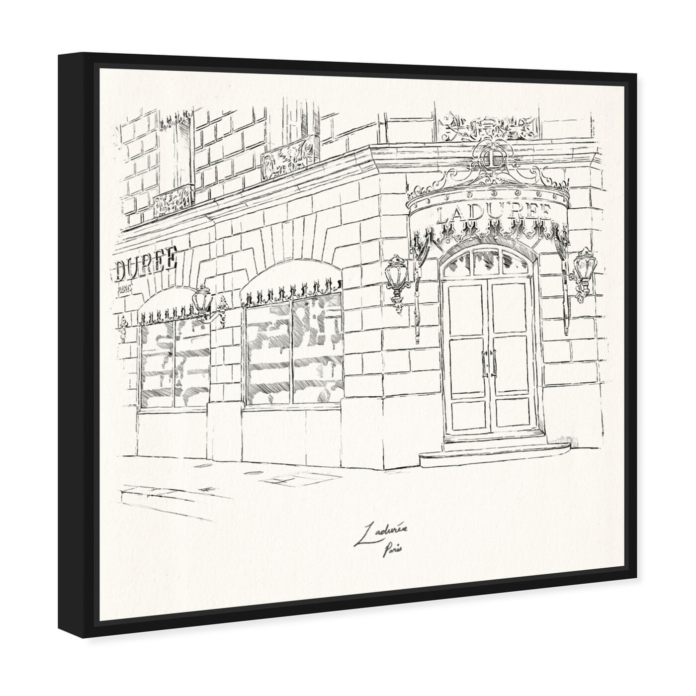 Angled view of Laduree Champs Elysees featuring cities and skylines and european cities art.