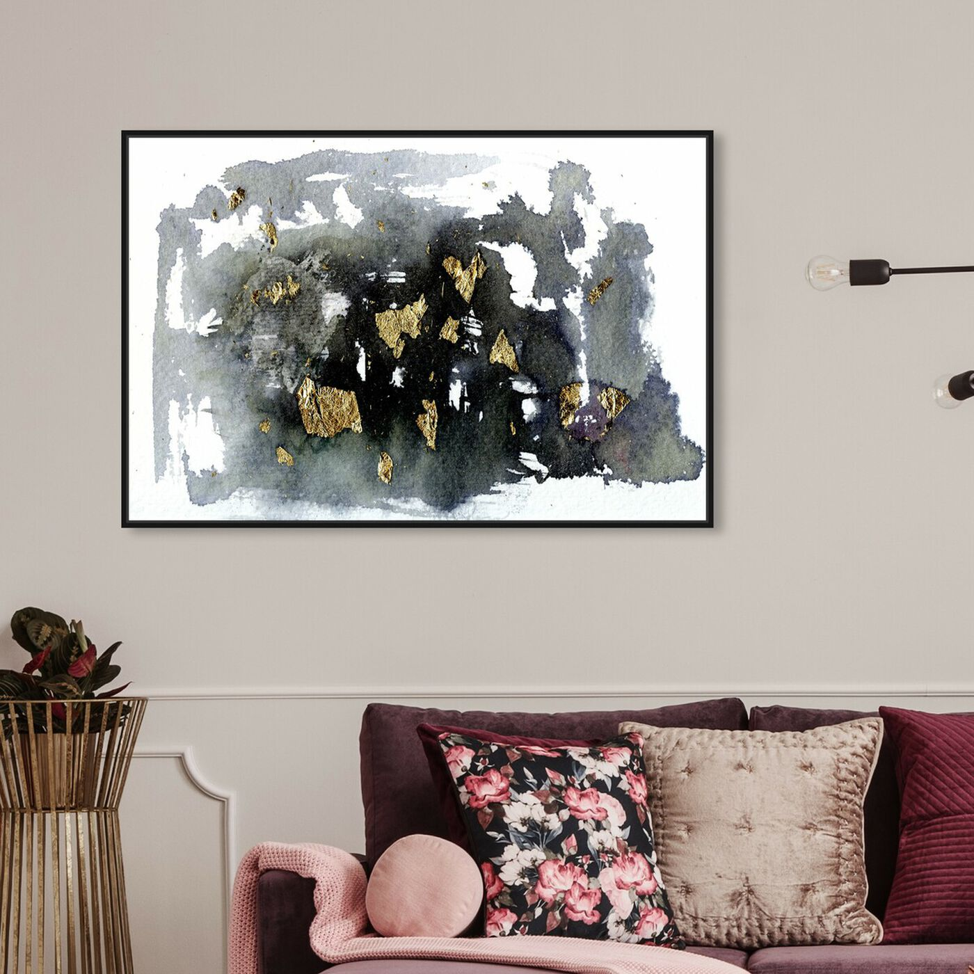 Hanging view of Grandeur - Signature Collection featuring abstract and watercolor art.