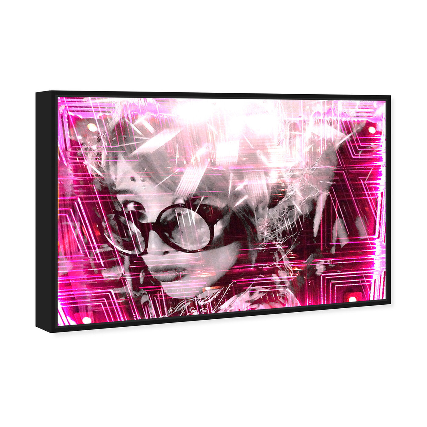 Angled view of Curro Cardenal - Pink neon featuring people and portraits and portraits art.