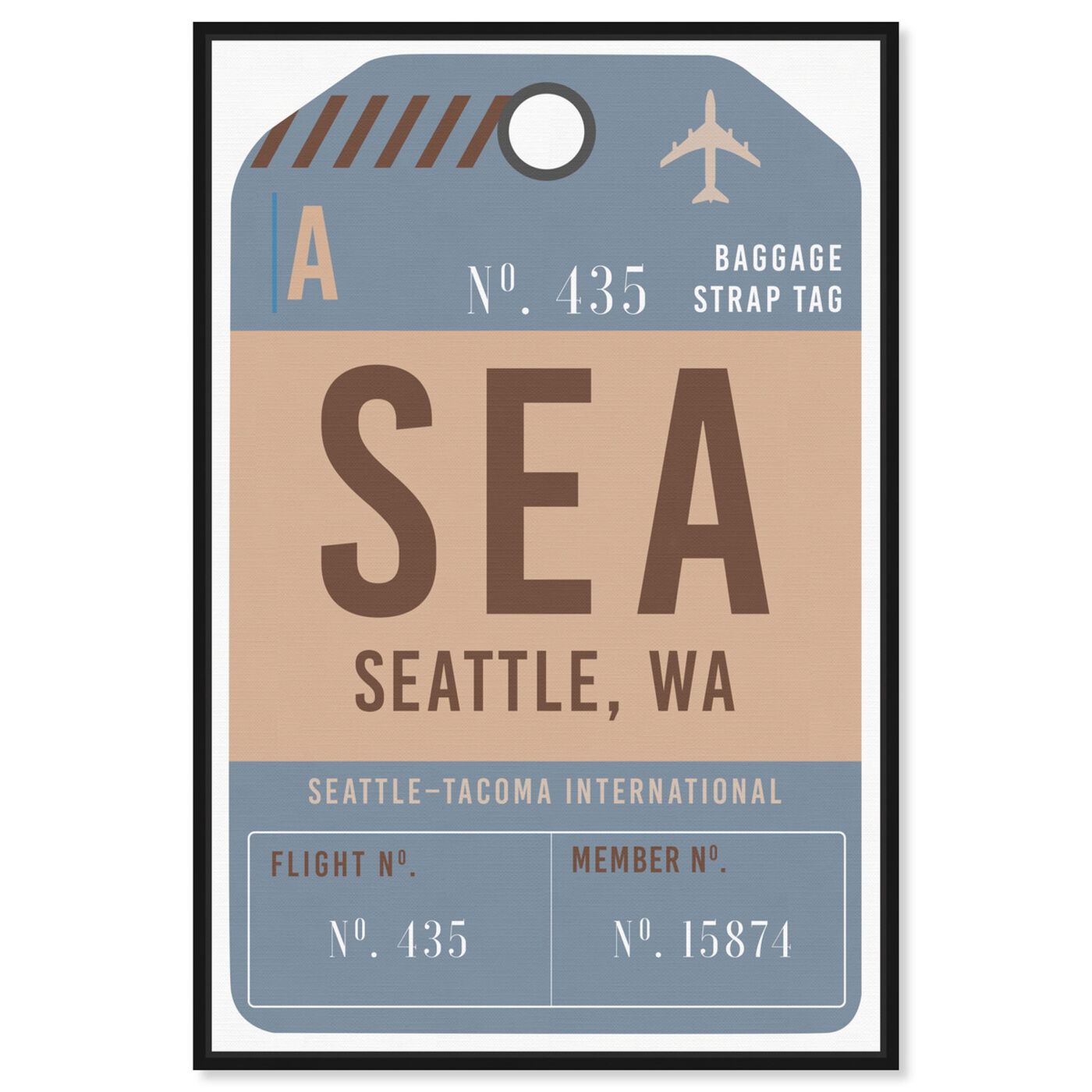 Front view of Seattle Luggage Tag featuring cities and skylines and united states cities art.