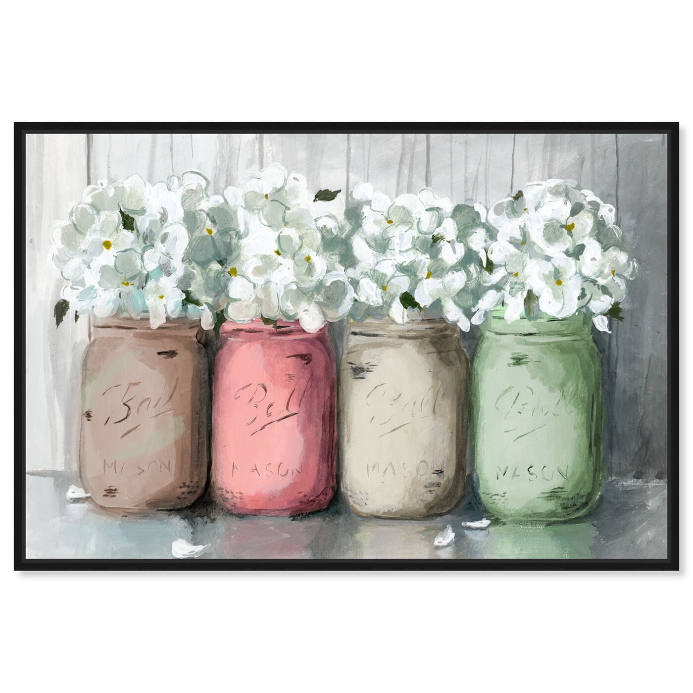Front view of Mason Jar Muted featuring floral and botanical and florals art.