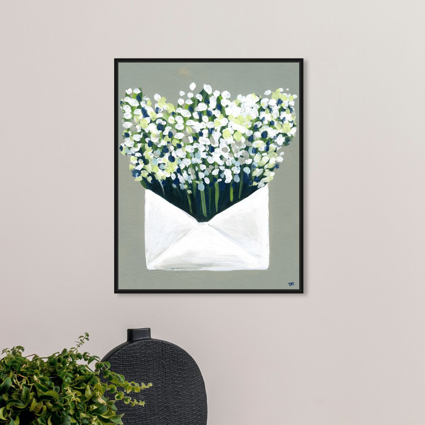Hanging view of Mail from the Valley featuring floral and botanical and florals art.