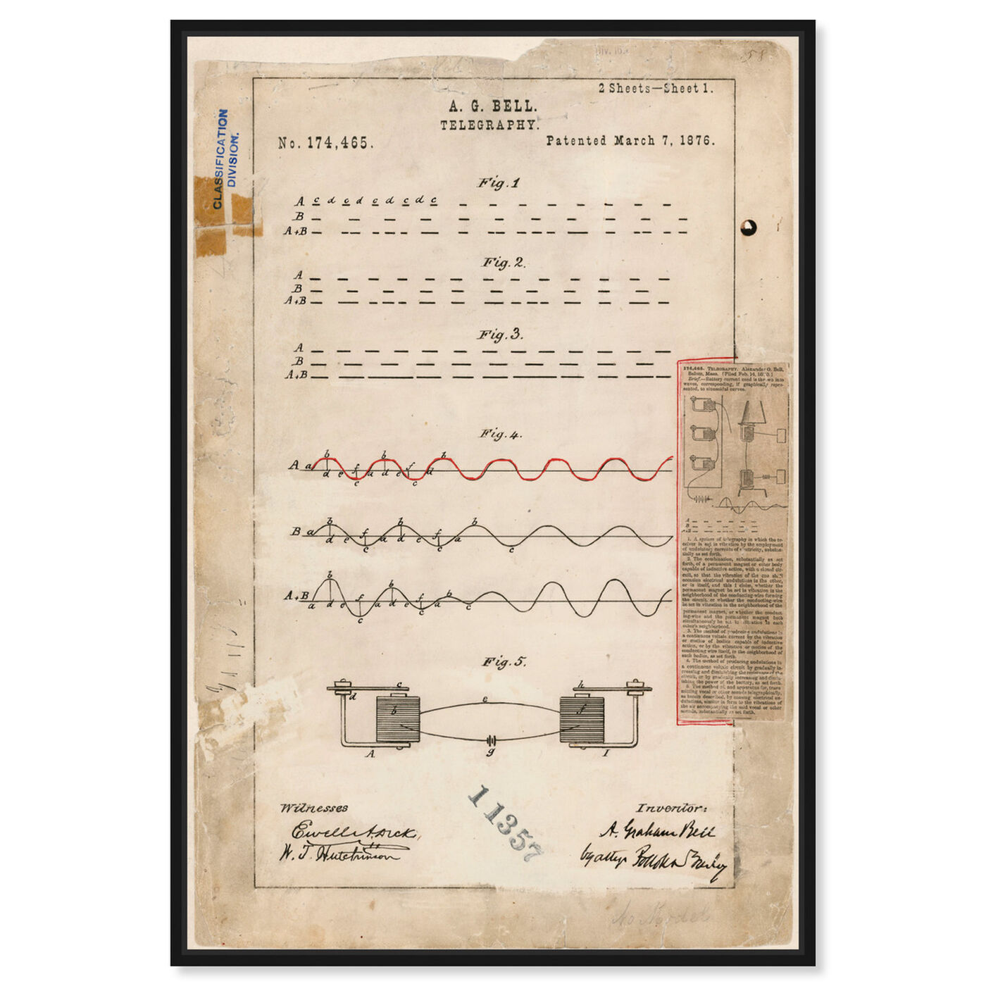 Front view of Alexander Graham Bell's Telegraphy featuring symbols and objects and urban maps art.