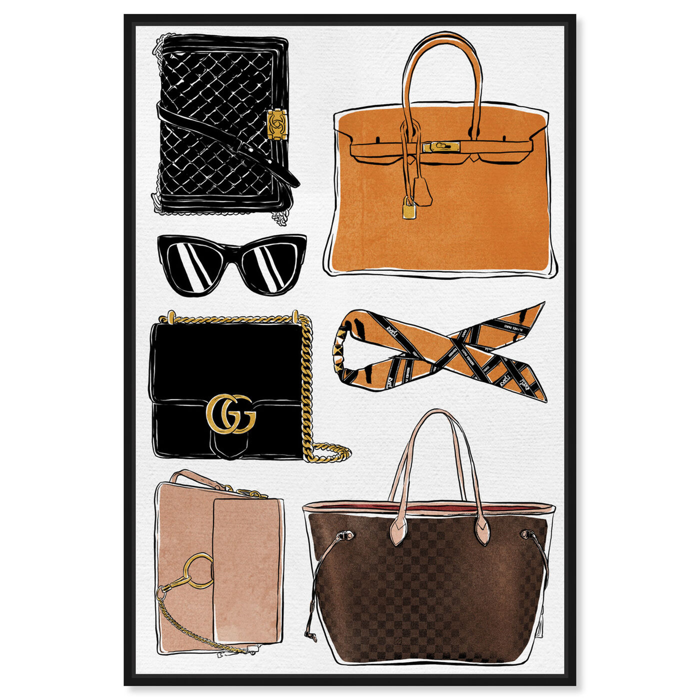 Front view of My Purse Collection featuring fashion and glam and handbags art.