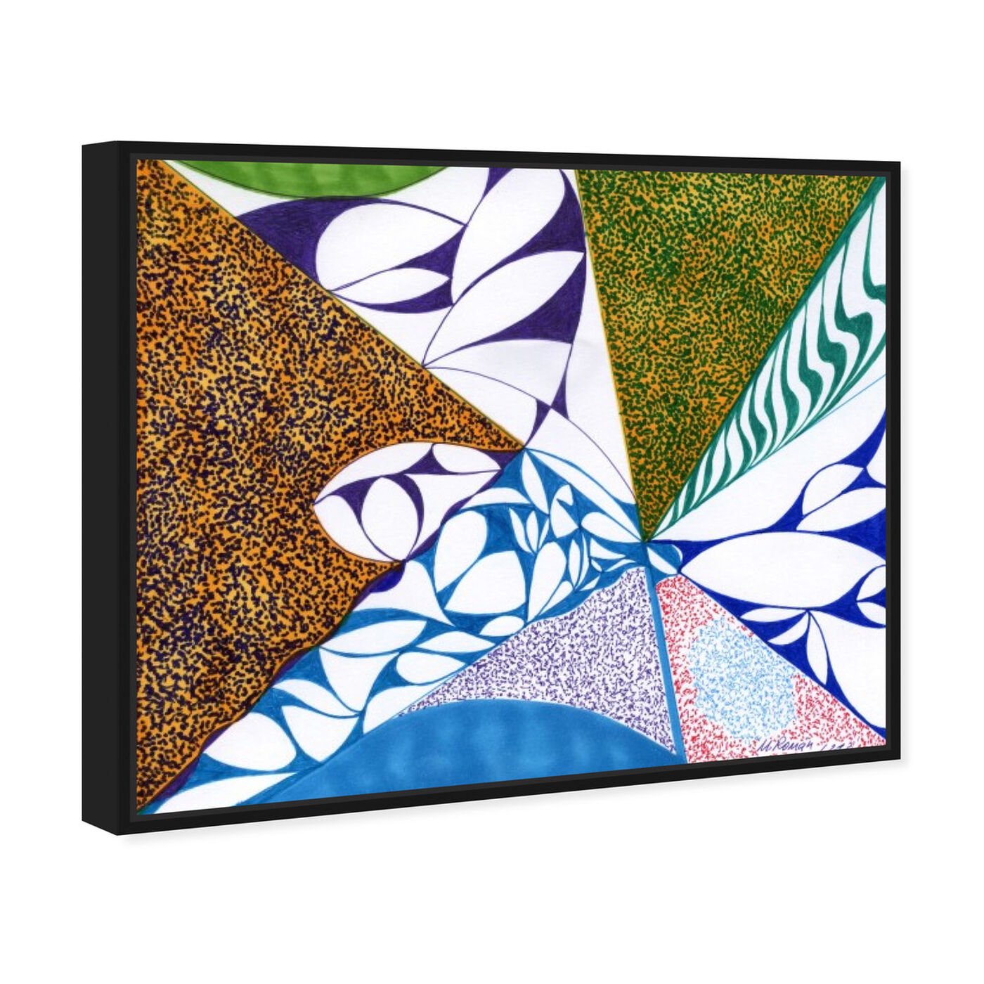 Angled view of Farmland featuring abstract and geometric art.