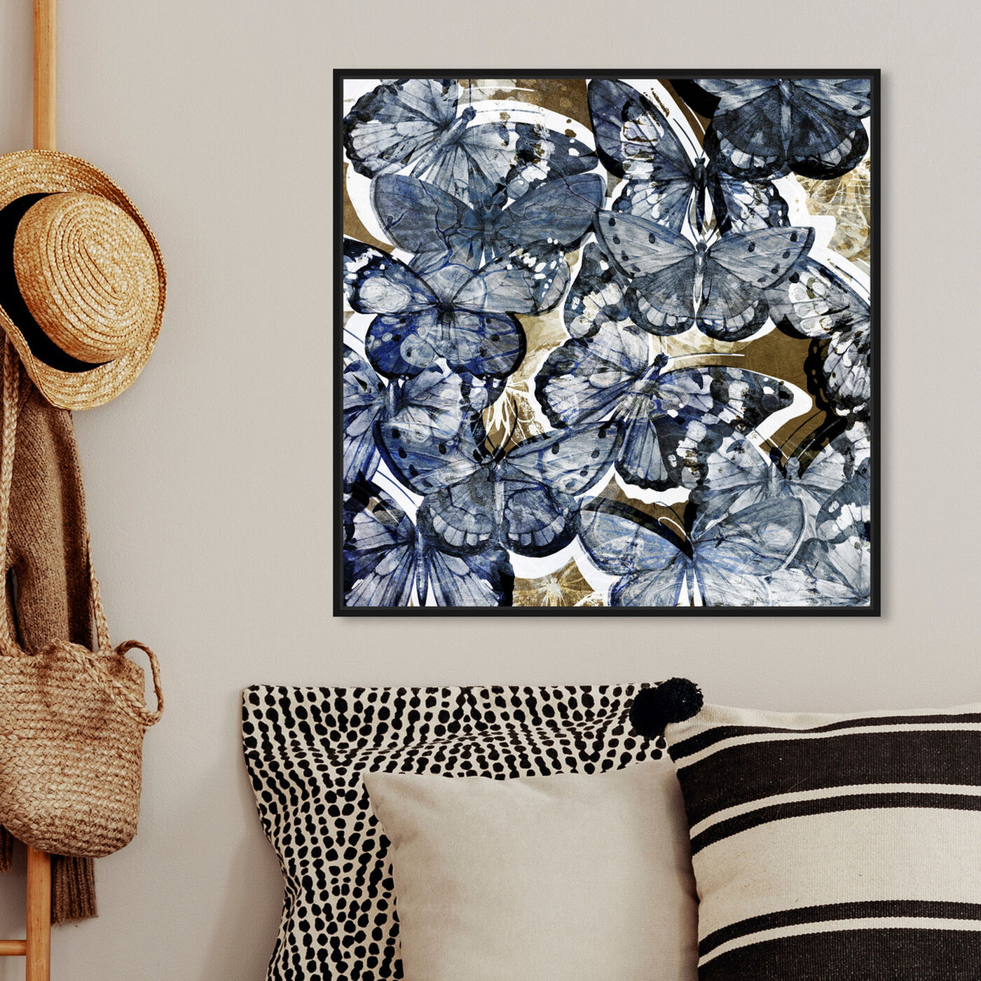 Hanging view of Butterfly Lovers Blue featuring animals and insects art.