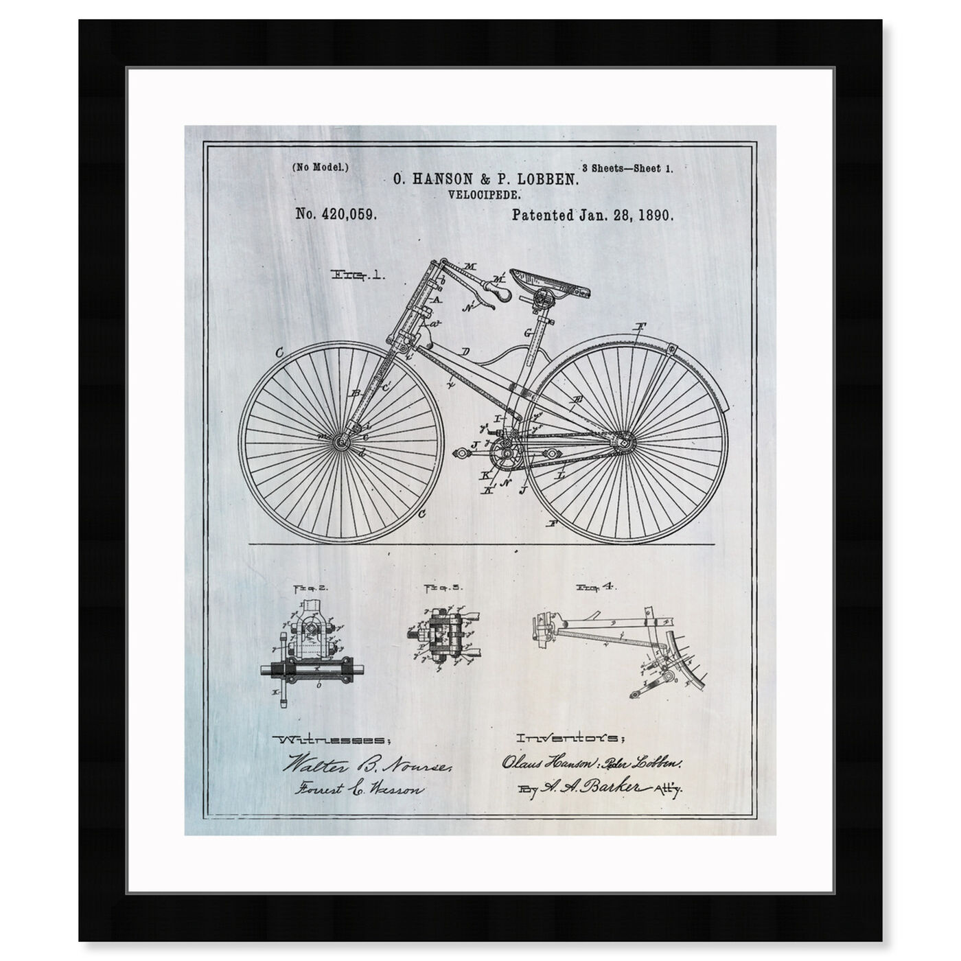 Front view of Bicycle 1890 featuring transportation and bicycles art.