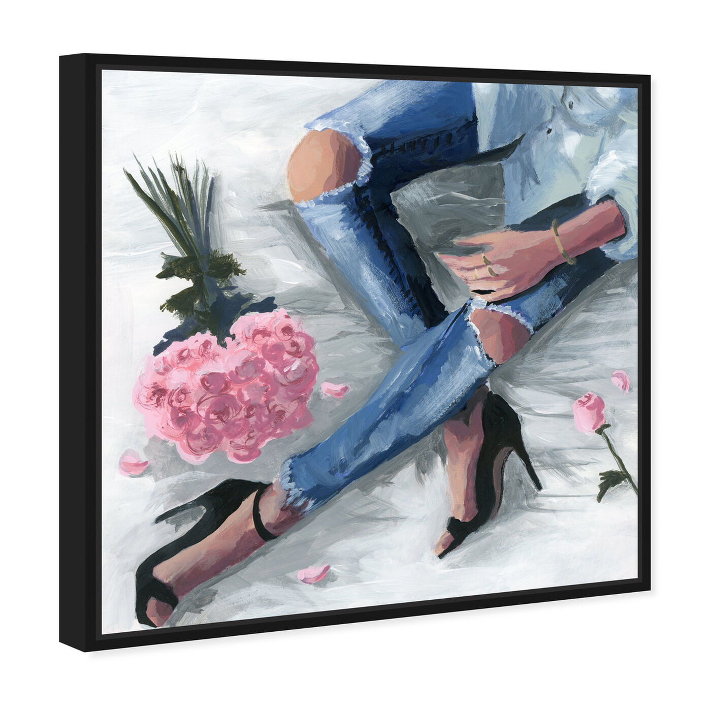Angled view of Romantic Jeans featuring fashion and glam and outfits art.