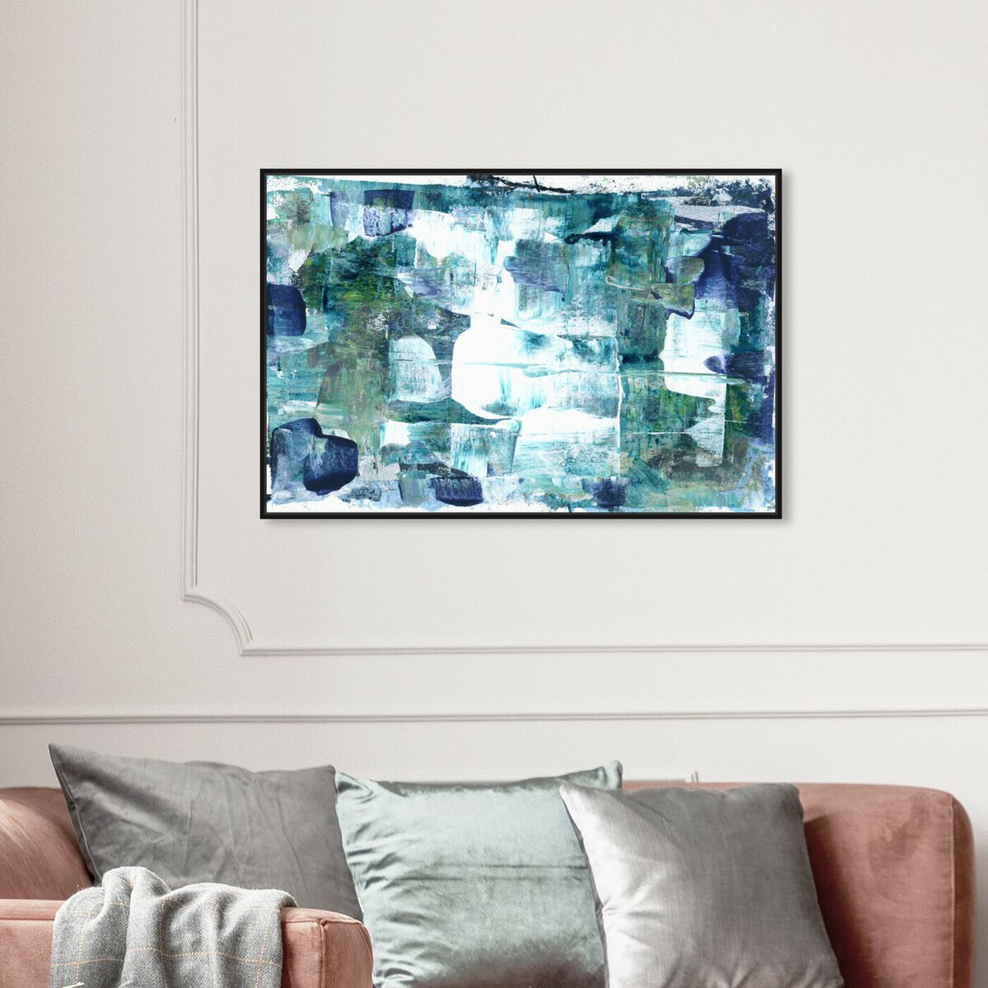 Hanging view of Aquamarines - Varnish Embellishment (Matte) featuring abstract and paint art.