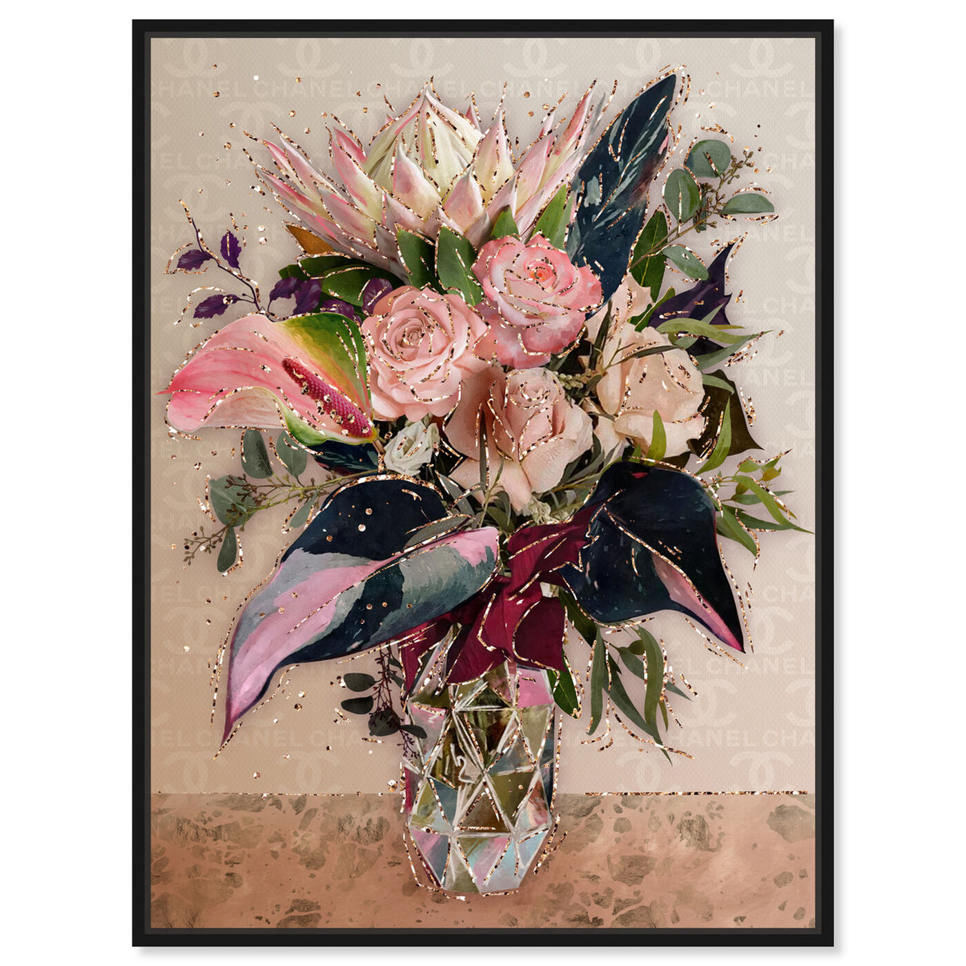 Front view of Warm Coco Bouquet featuring floral and botanical and florals art.