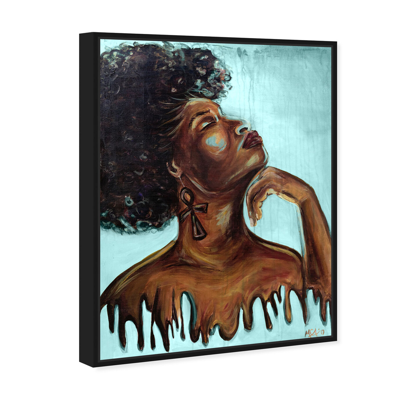Angled view of Marissa Anderson - Dripping Melanin Blue featuring fashion and glam and portraits art.