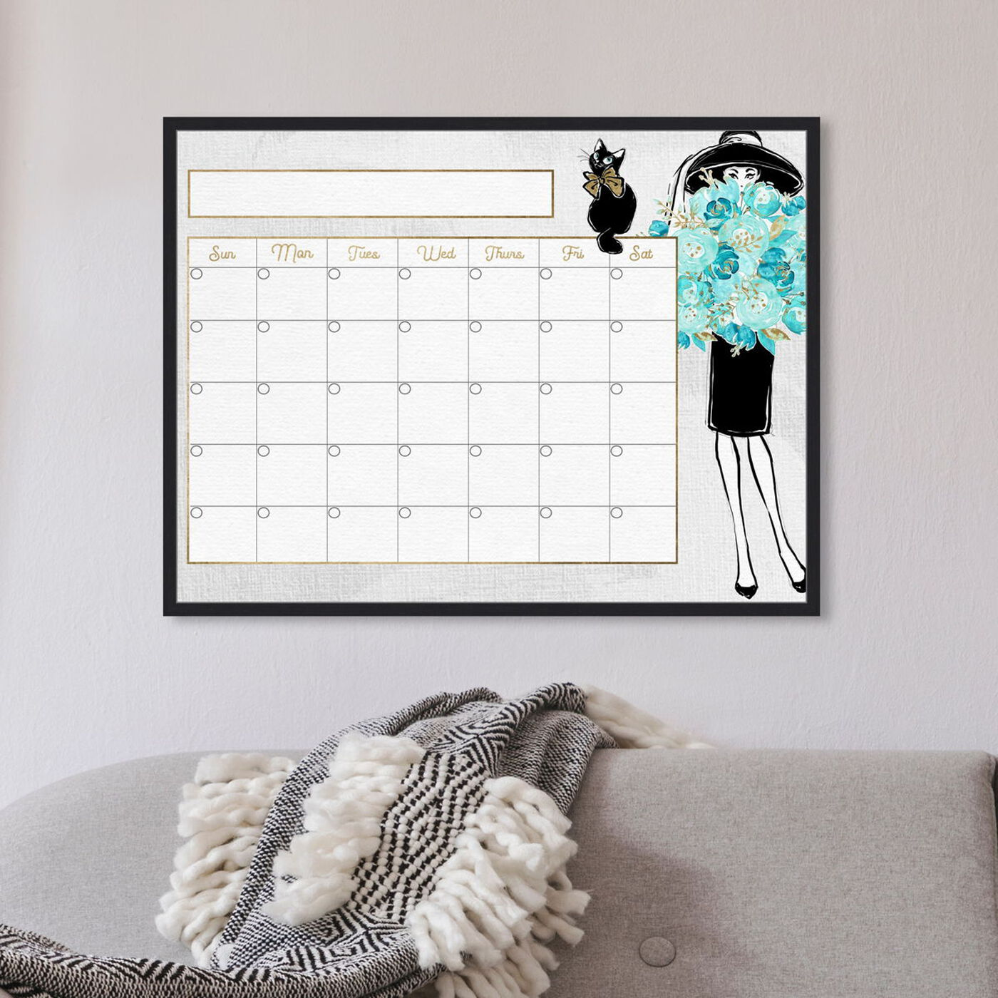 Flowers Cats and Pretty Girl Monthly Calendar