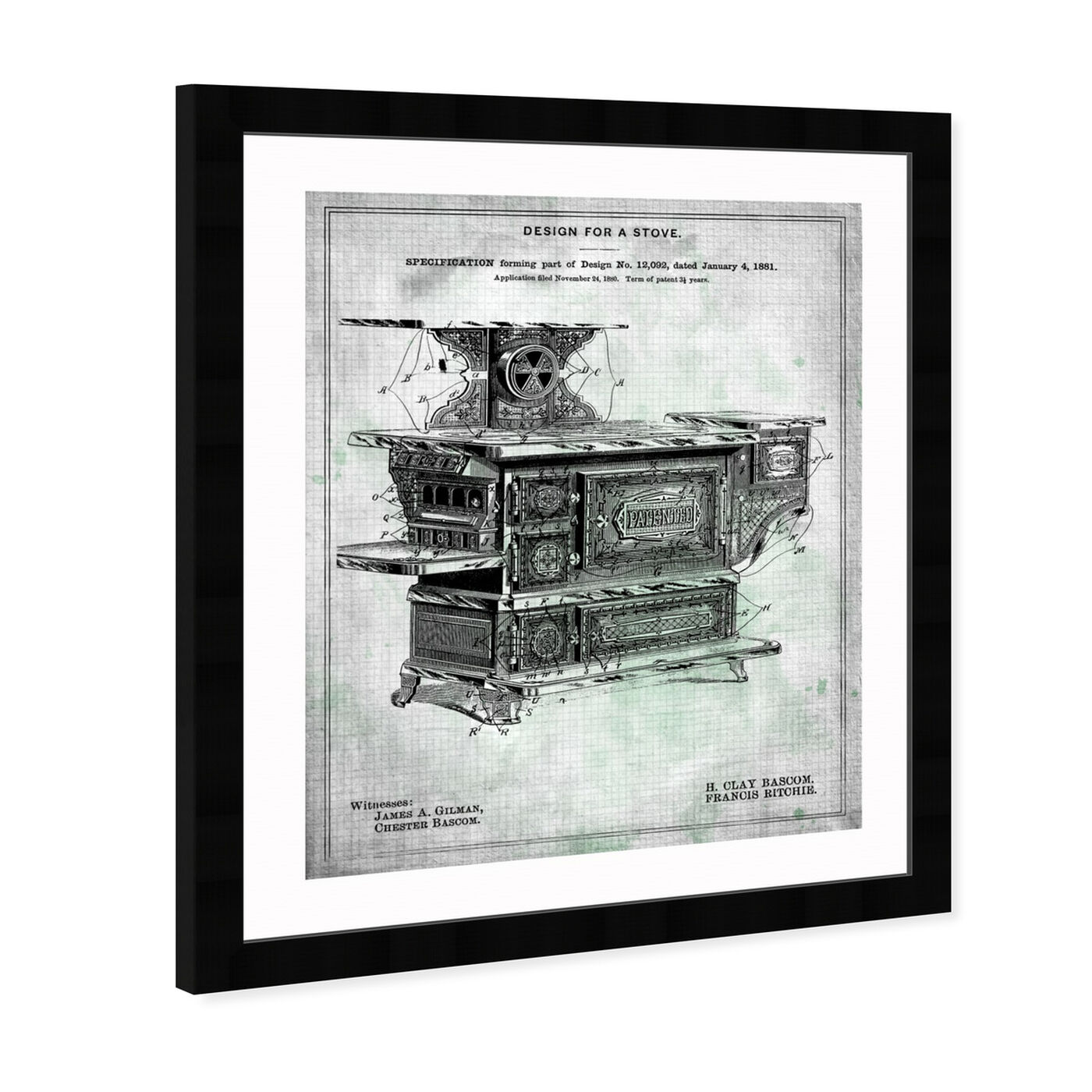 Angled view of Design for a Stove 1881 featuring food and cuisine and kitchen art.