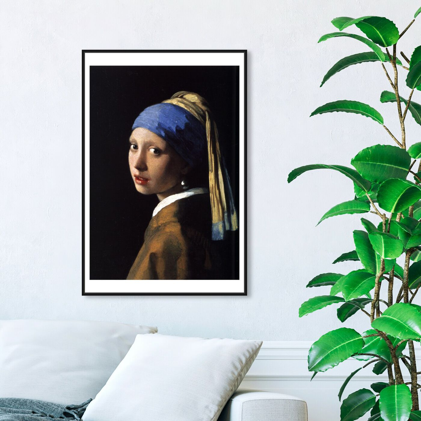 Hanging view of Vermeer - Girl With The Pearl Earring featuring classic and figurative and renaissance art.