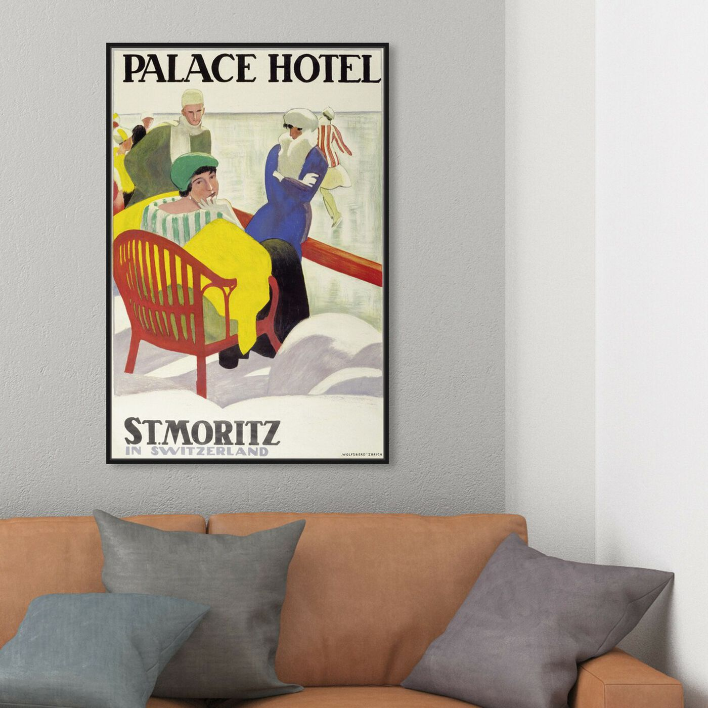 Hanging view of St Moritz featuring advertising and posters art.