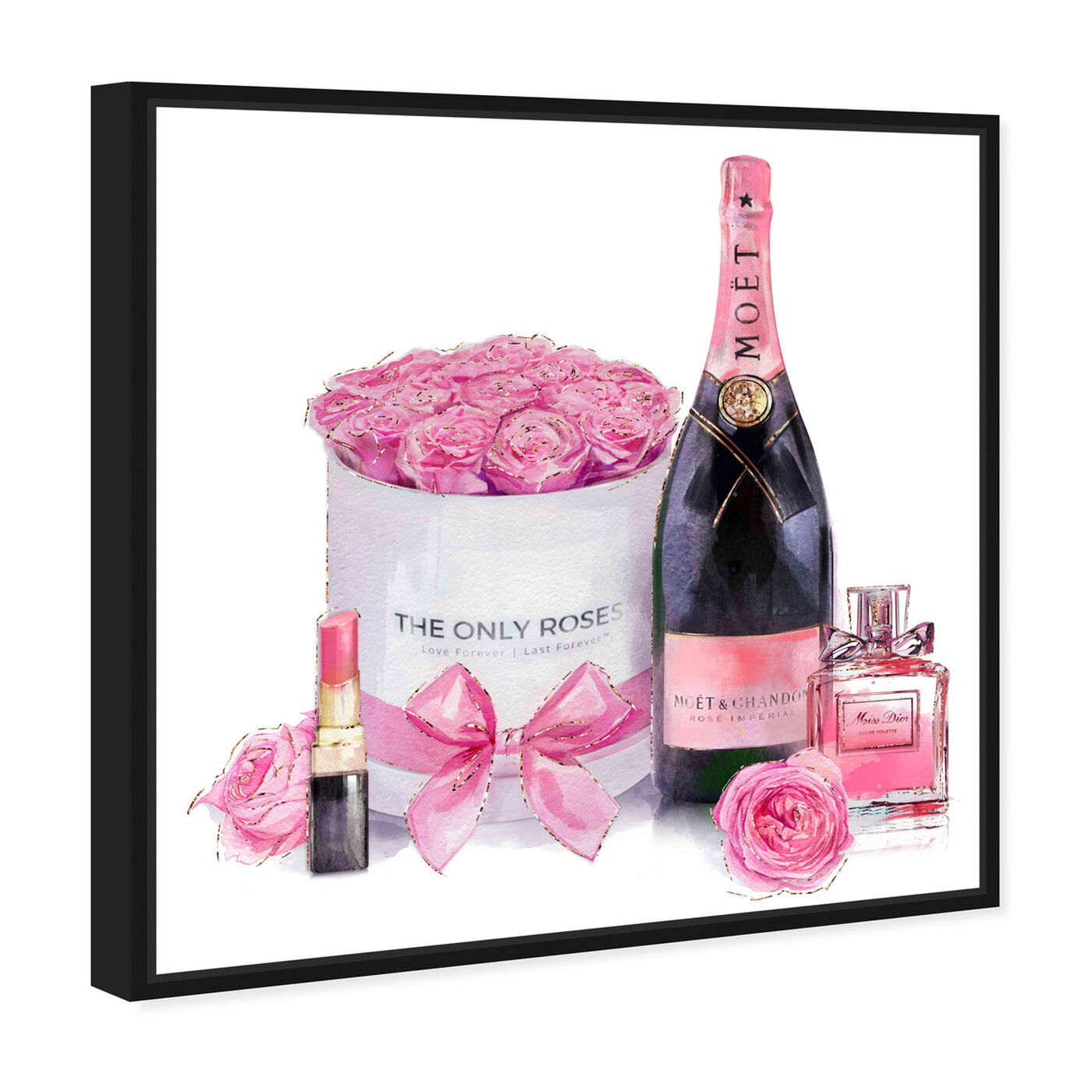 Angled view of Pinkish Glamour featuring fashion and glam and perfumes art.
