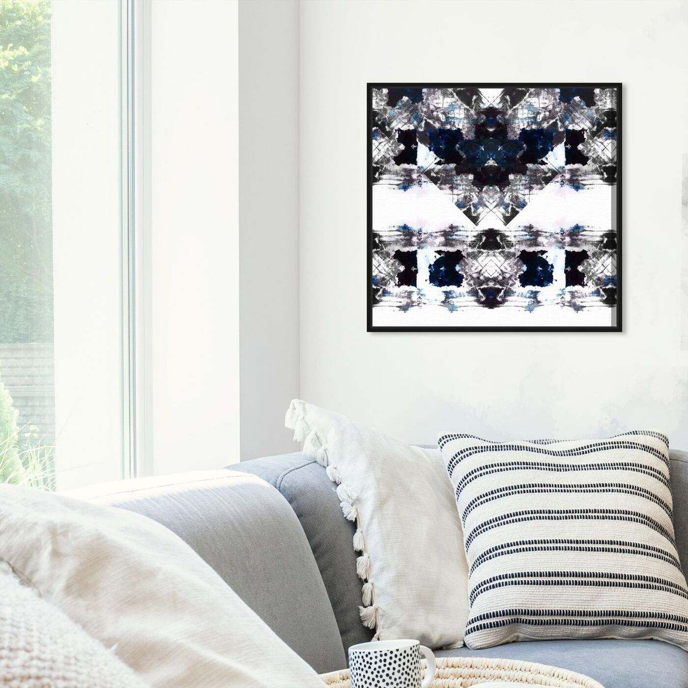 Hanging view of Oeuvre featuring abstract and patterns art.