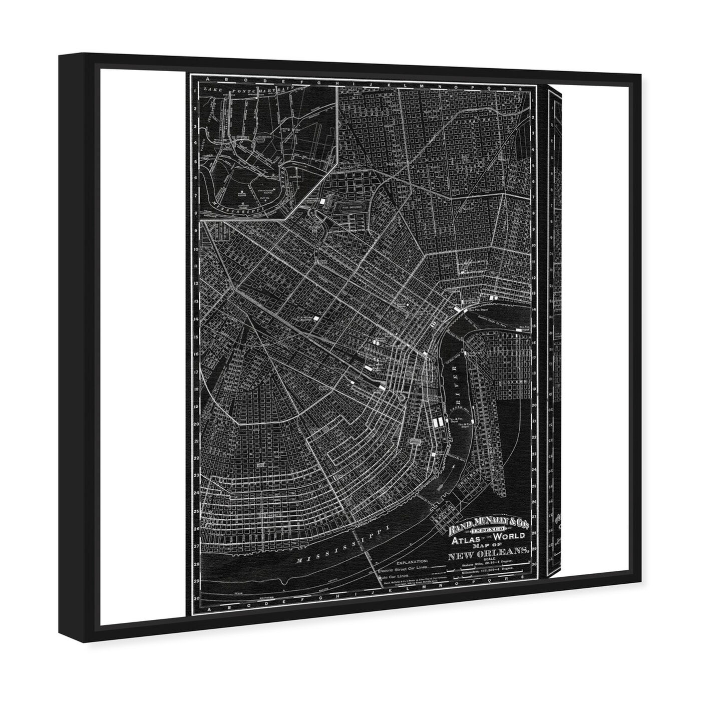 Angled view of Map of New Orleans 1897 featuring maps and flags and us cities maps art.
