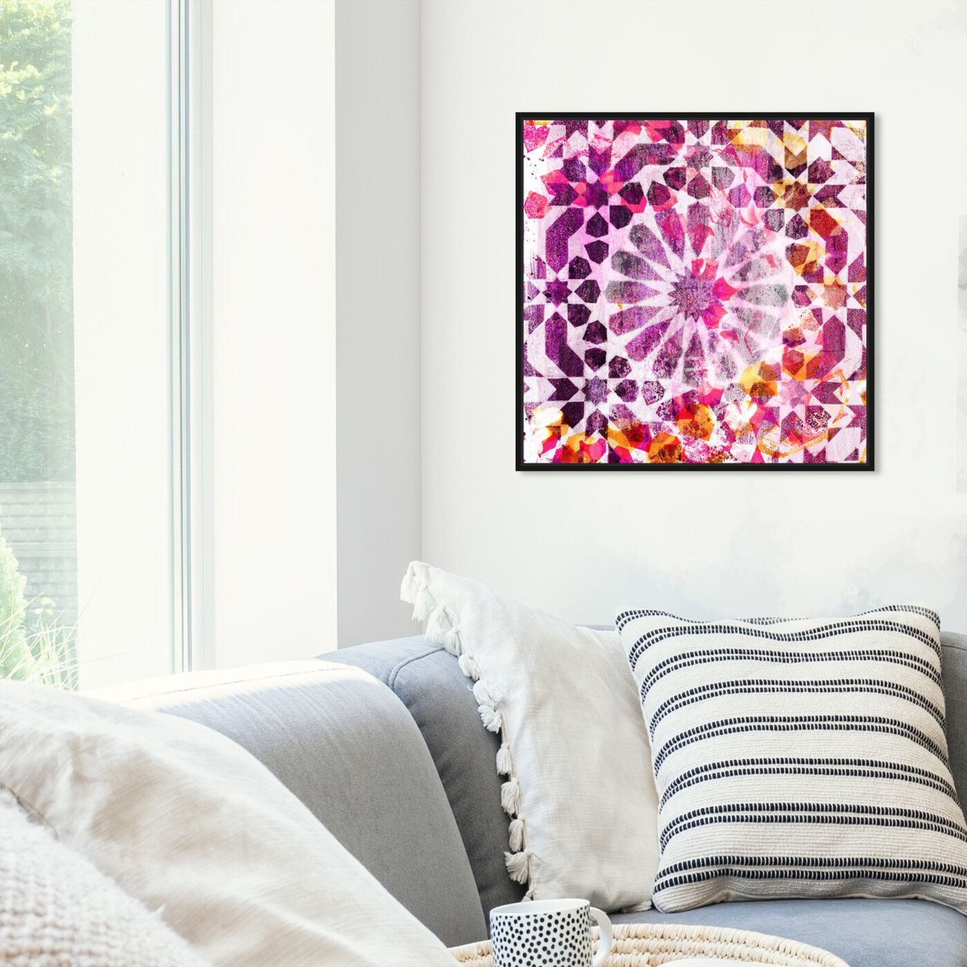 Hanging view of Majid Pink featuring abstract and patterns art.
