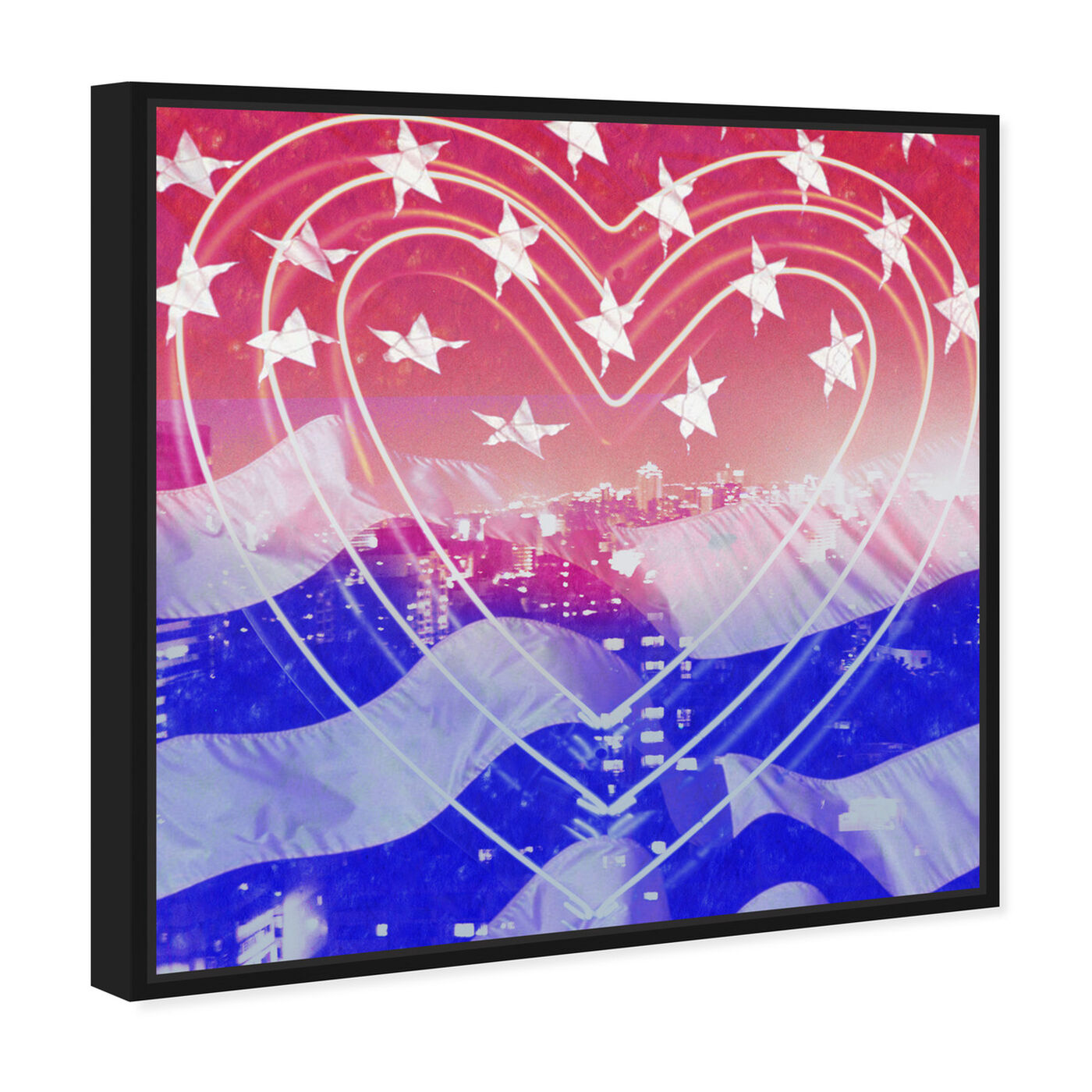 Angled view of American Neon Heart featuring americana and patriotic and us flags art.