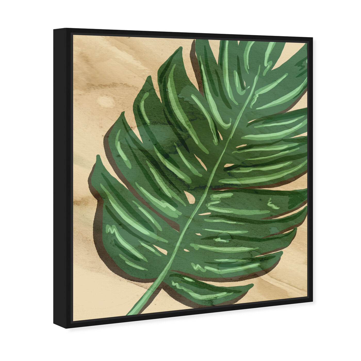 Angled view of Neutral Leaves II featuring floral and botanical and botanicals art.