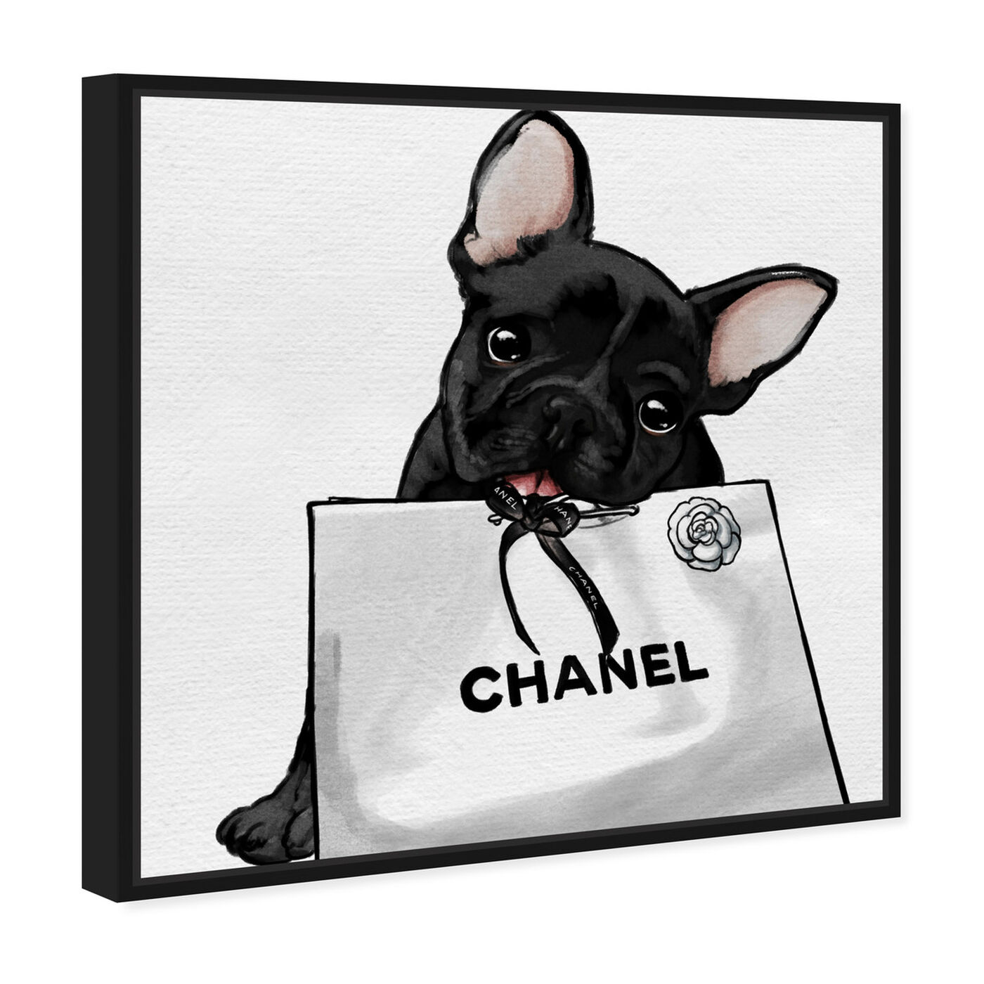 Angled view of Frenchie Glam White Bag featuring animals and dogs and puppies art.