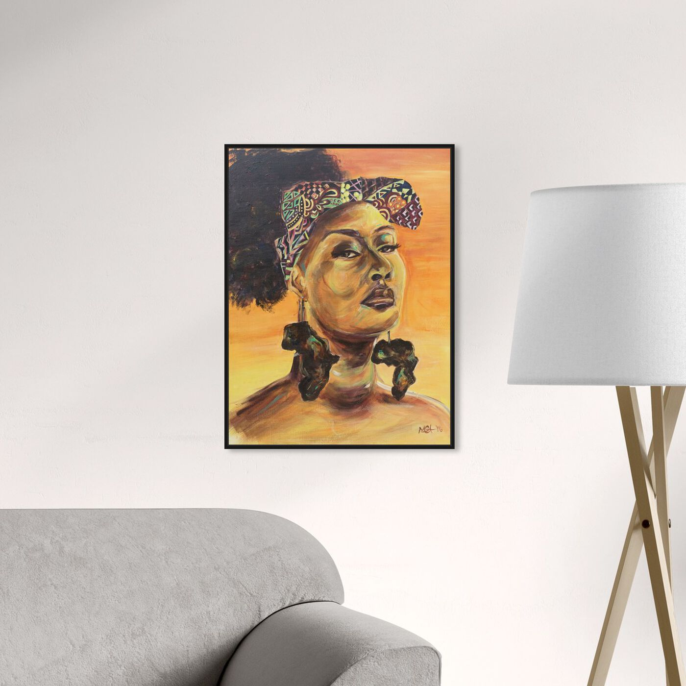 Hanging view of Marissa Anderson - African Pride featuring people and portraits and portraits art.