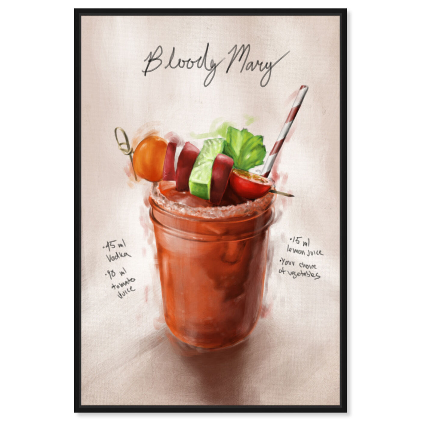 Front view of Bloody Mary featuring drinks and spirits and cocktails art.