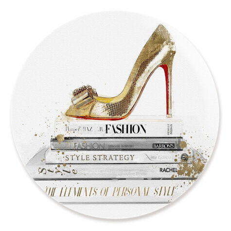 Gold Shoe and Red Fashion Round