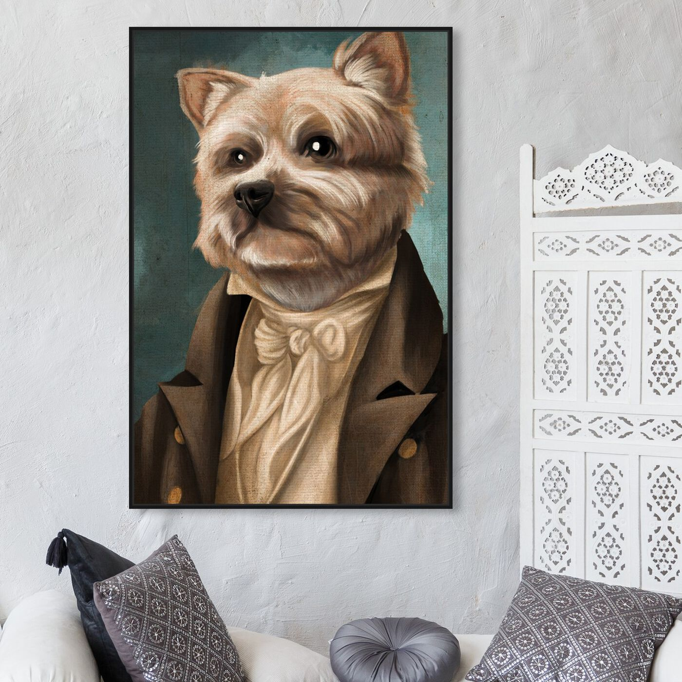 Hanging view of Yorkie Gentlemen featuring animals and dogs and puppies art.
