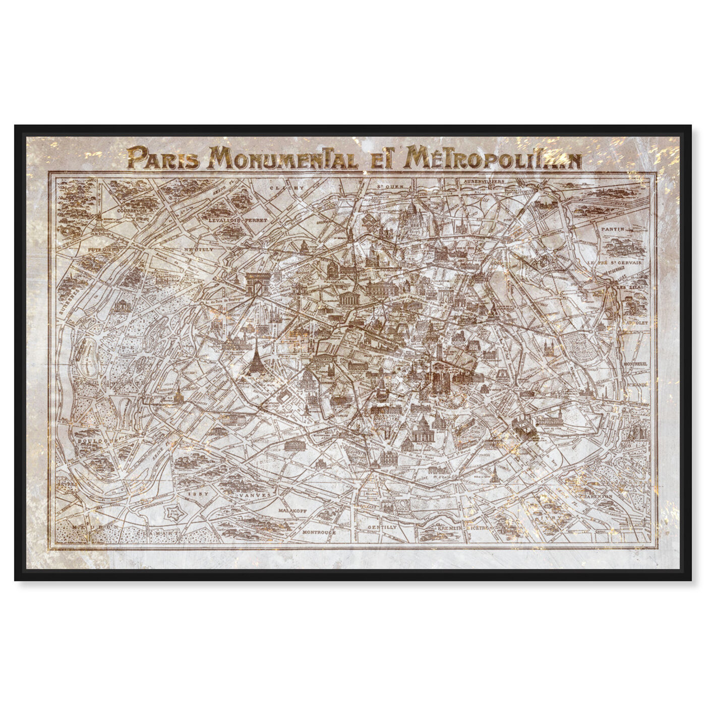 Front view of Dusty Gold Paris Map featuring maps and flags and european cities flags art.