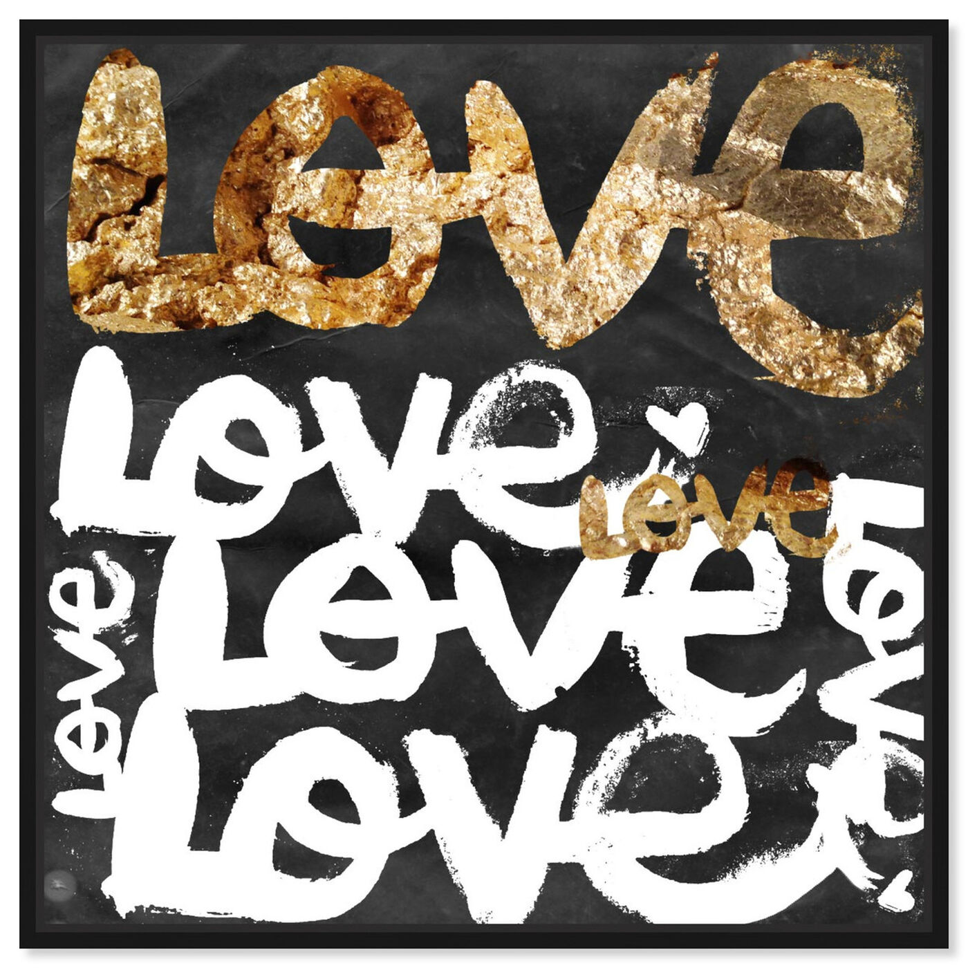Front view of Four Letter Word Gold featuring typography and quotes and love quotes and sayings art.