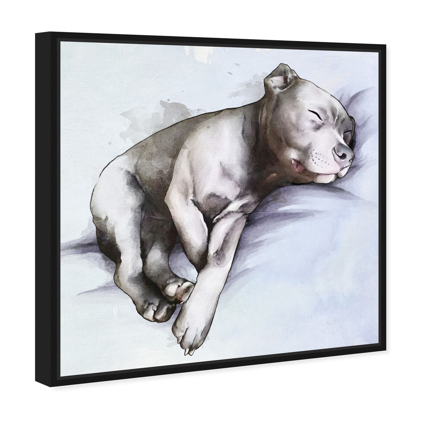 Angled view of Sleeping Pitbull featuring animals and dogs and puppies art.