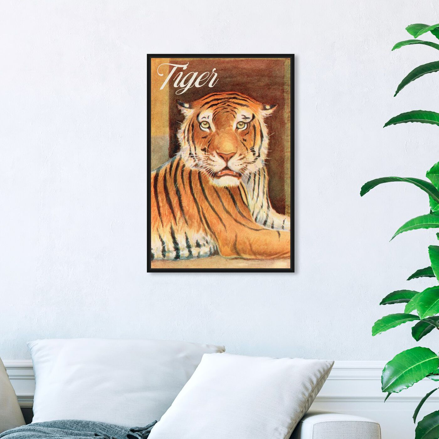 Hanging view of Tiger featuring animals and felines art.