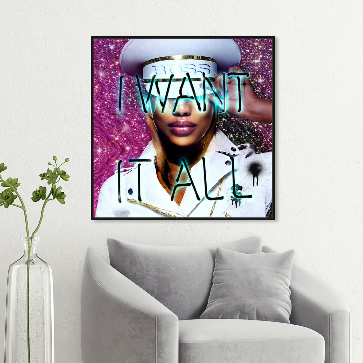 Hanging view of Want It All Queen featuring fashion and glam and portraits art.