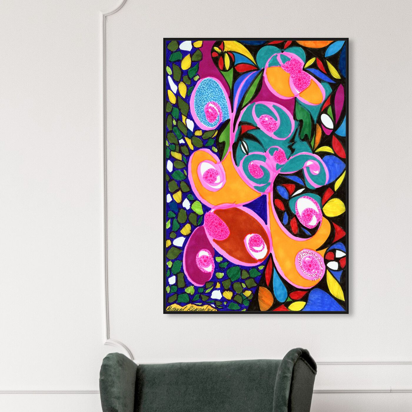 Hanging view of What Her Eyes Said featuring abstract and paint art.