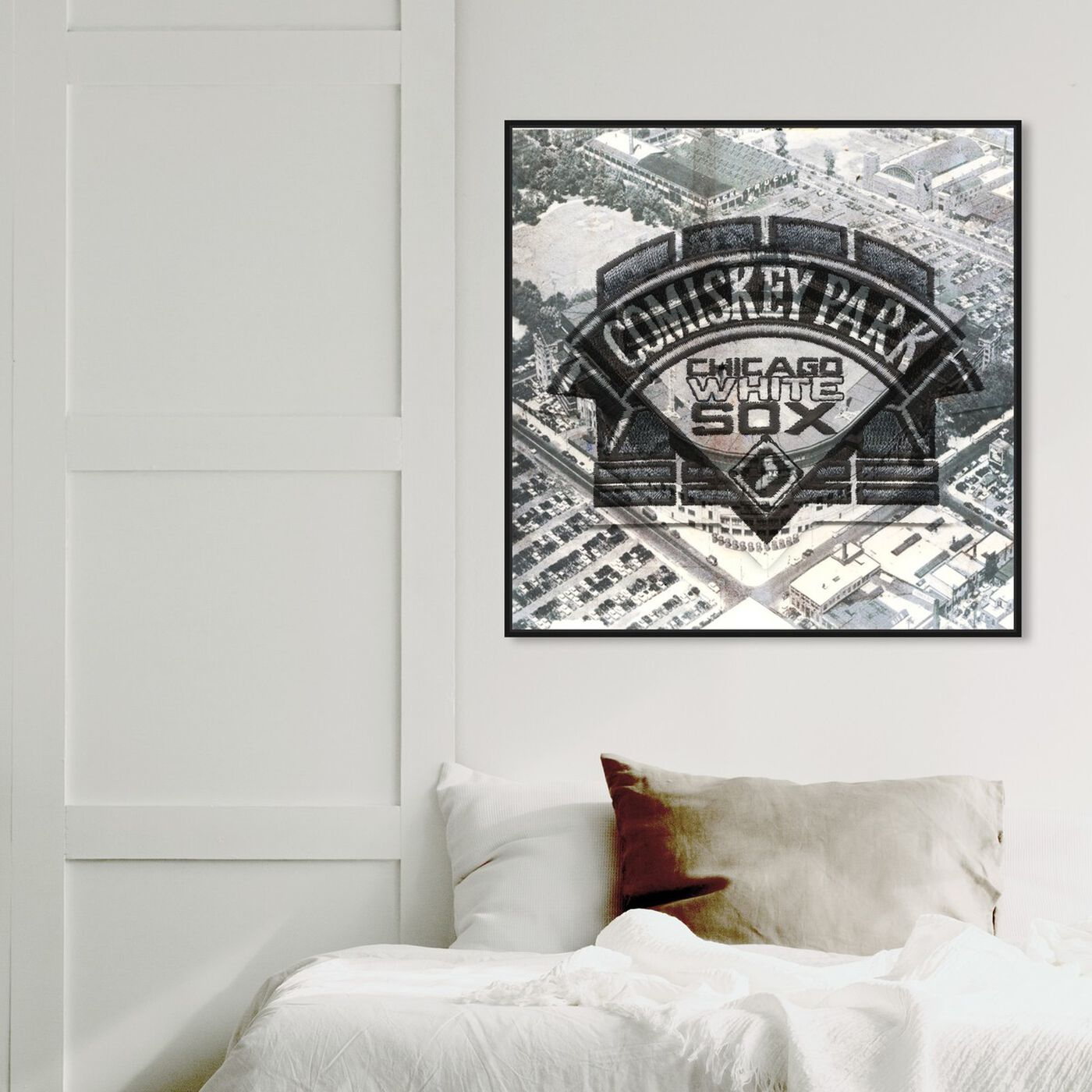 Hanging view of Comiskey Park White Sox featuring cities and skylines and united states cities art.
