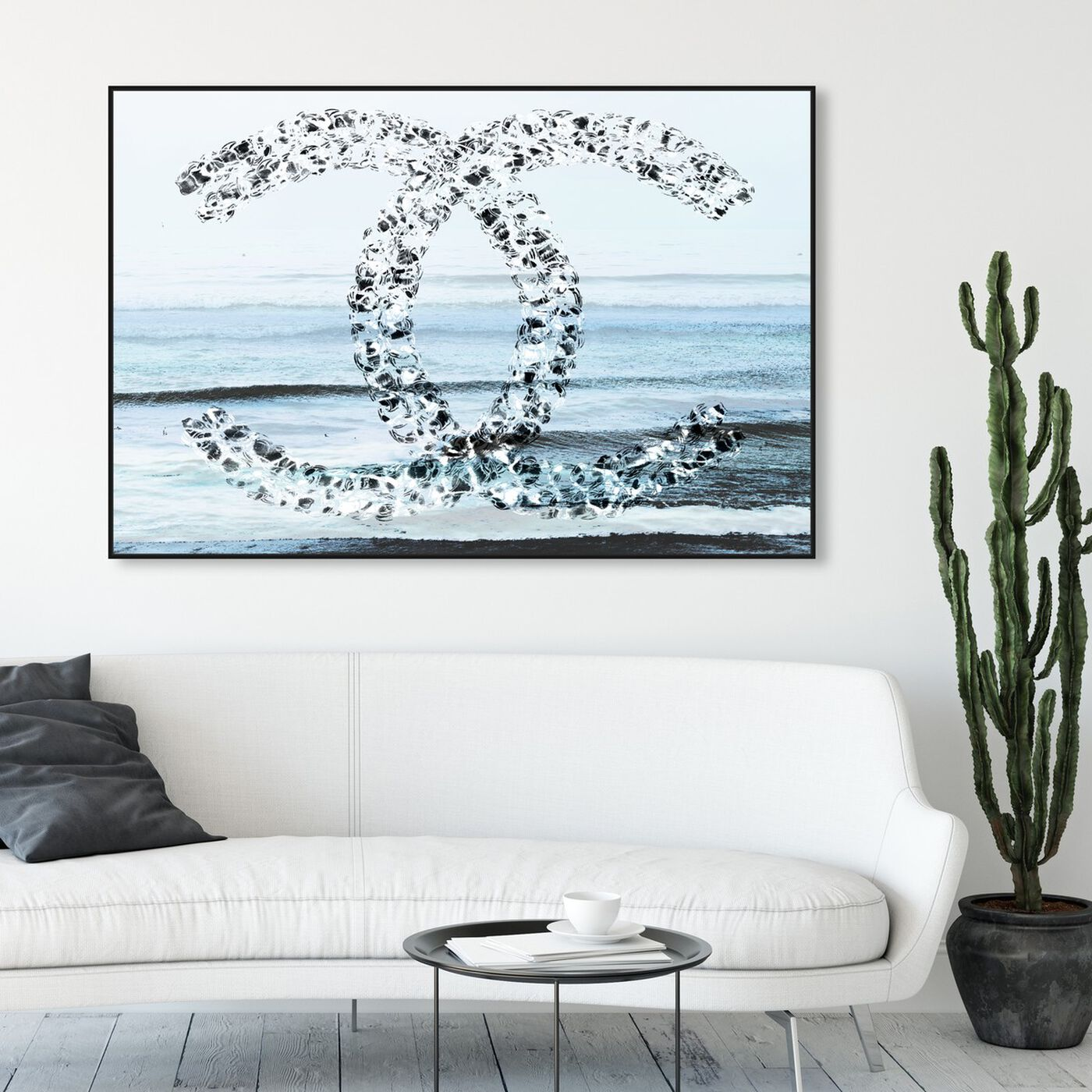 Hanging view of Coco Beach Grey Blue featuring fashion and glam and lifestyle art.