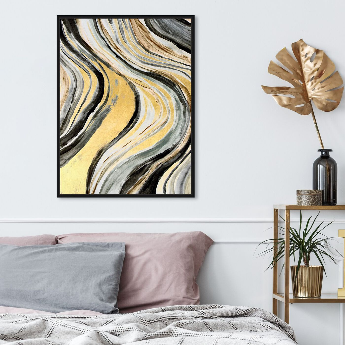 Hanging view of Golden Geode Flow featuring abstract and paint art.