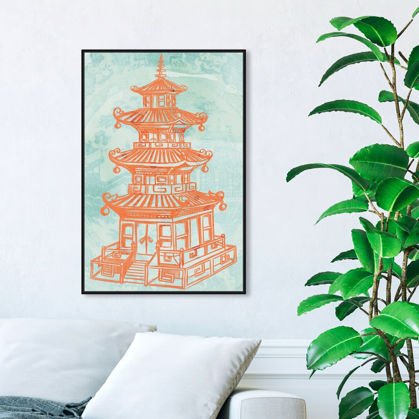 Hanging view of Pagoda Lagoon featuring world and countries and asian cultures art.
