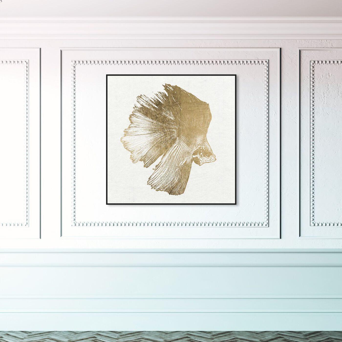 Hanging view of Glazing Swim featuring nautical and coastal and marine life art.